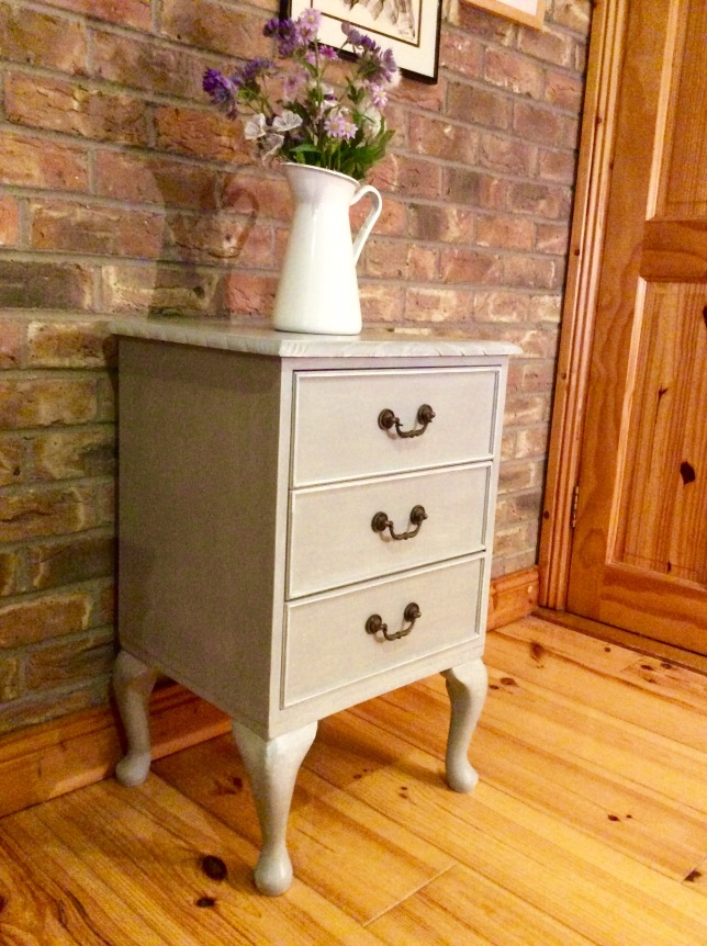 Lovely Vintage 3 Drawer Cabinet, hand painted in Annie Sloan 'Paris Grey' with white highlights. Each drawer is lined with 'Butterfly' paper & finished with 'Provence' paint. Little bronze handles finish the vintage look. Suitable for any room - €100 H: 75cm / D: 40cm / W: 47cm