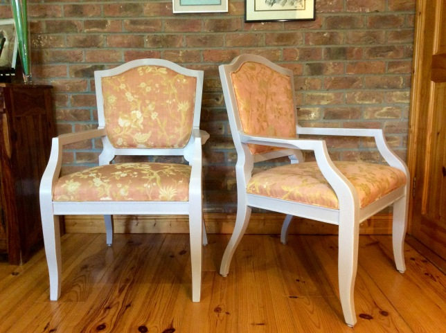 Beautiful Pair of Occasional Chairs, hand painted in soft grey with white highlights, waxed finish. These would look perfect in your Hall, Living Room or Bedroom setting - sturdy, very comfortable & versatile! €300 for the pair